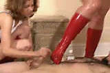 Bootjob in red boots