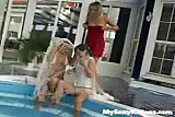 Licking Masturbating Lesbians at Swimming Pool !!