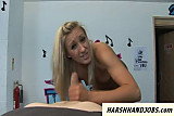 Blonde strips naked and slaps dick hard