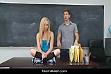 Sexy blonde teen fucks boyfriend in classroom