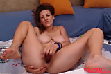 No sound: Big tits girl plays with wet pussy