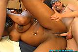 Ebony babe all-holes gangbang party