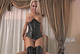 tall blonde goddess working a cock in thigh high boots