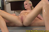 Blonde masseuse sucks and fucks her male client during his session