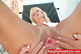 Mature Frantiska pussy gaping in nurse uniform at clinic