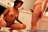 Piss: Brunette slut drinking her master's pee