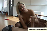 MILF with stockings gives femdom handjob to pervert
