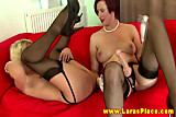 Mature lesbians loves strapon ass fucking on their couch
