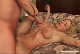 Curly blonde fucked by a tattooed guy