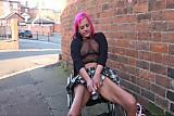 Wheelchair bound Leah Caprice in uk flashing