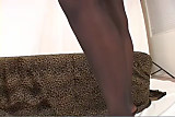 Ebony beauty Vanessa pantyhose heels tease