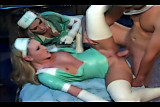 FFM threesome with nurses in latex lingerie and gloves