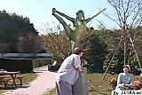 Mosaic; A living nude female Japanese garden statue view on tnaflix.com tube online.